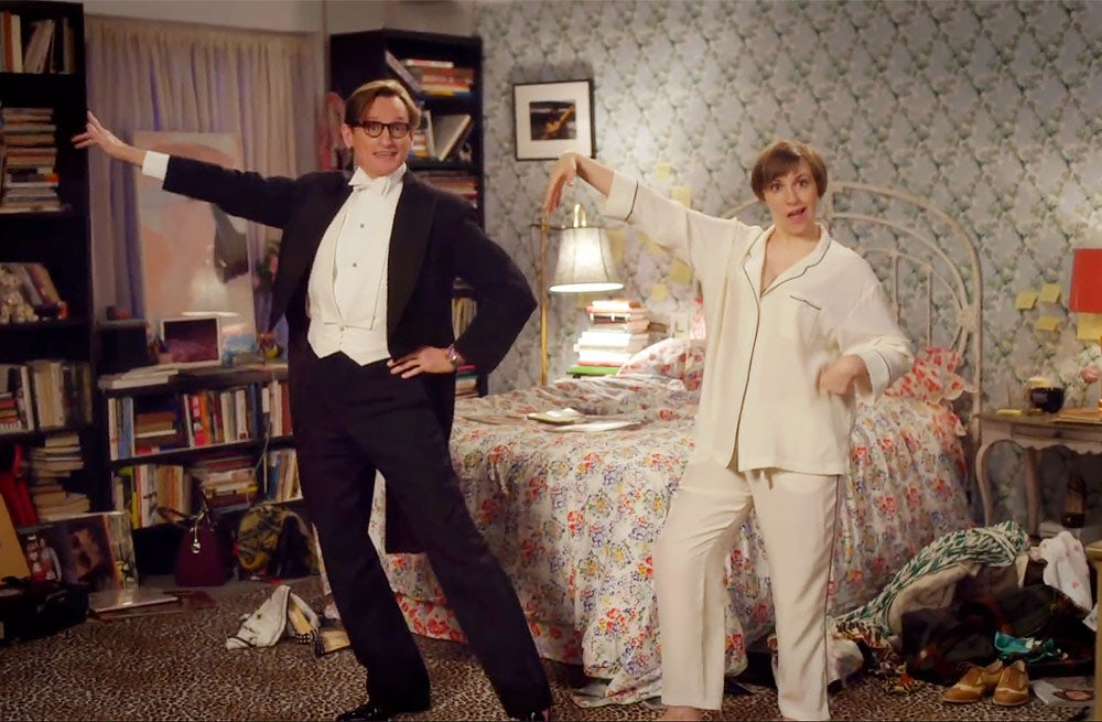 "Hamish Bowles and Lena Dunham in ""Cover Girl"" 