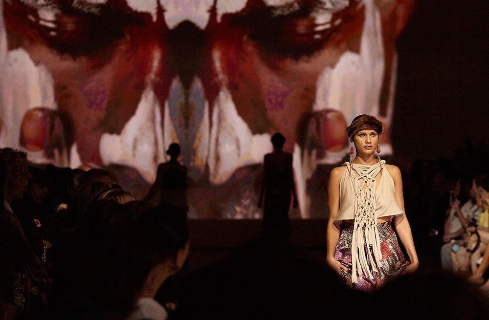 A runway look at Australian Indigenous Fashion Week   Photo: Sam Grant