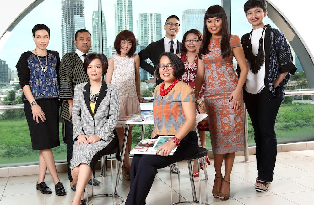 Svida Alisjahbana, chief executive of Femina Group, with senior members of her editorial team | Source: Courtesy