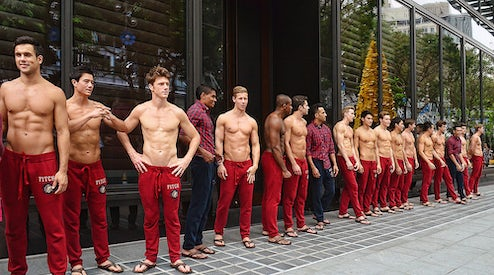 Models in front of an Abercrombie   Fitch store  c7ce1e770ba6f