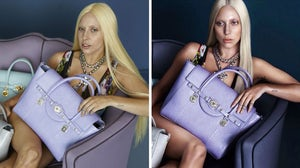 (L) An outtake from the Lady Gaga photoshoot for Versace S/S 2014, leaked on fansite GagaDaily, and (R) the final campaign | Source: GagaDaily, Versace
