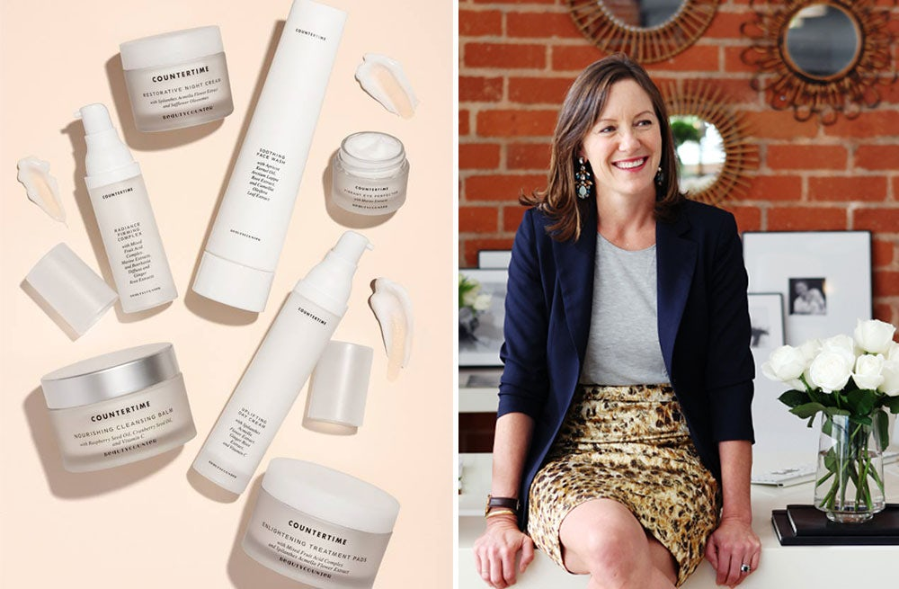(L) Beautycounter products, (R) Founder Gregg Renfrew   Source: Beautycounter