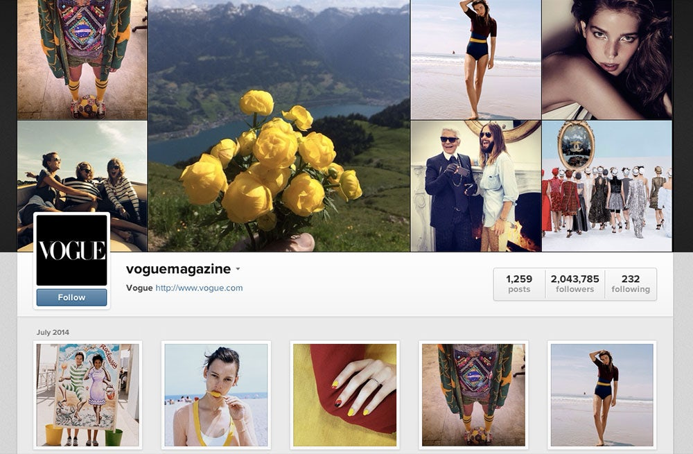 Vogue's Instagram, which is shoppable with RewardStyle | Source: Instagram