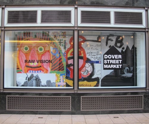 Dover Street Market's 2014 Frieze window by Rei Kawakubo, featuring the work of Raw Vision | Source: Courtesy