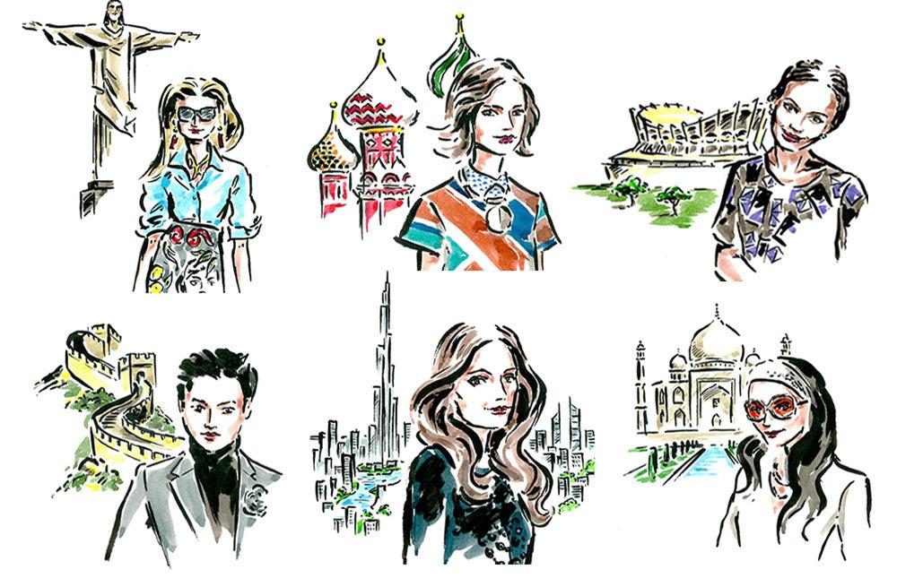 Top L-R: Monica Mendes, Miroslava Duma, Omoyemi Akerele, Melvin Chua, Susan Sabet, Bandana Tewari | Illustrations by Clym Evernden