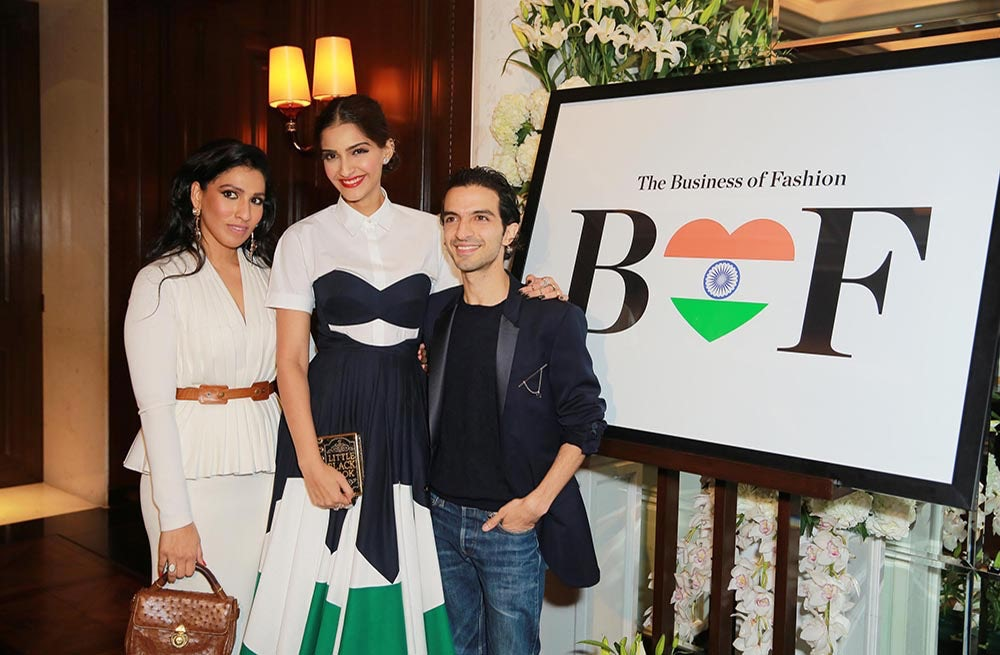 From the left: Aishwarya Nair, Sonam Kapoor and Imran Amed | Source: BoF