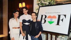 From the left: Aishwarya Nair, Sonam Kapoor and Imran Amed | Source: BoF