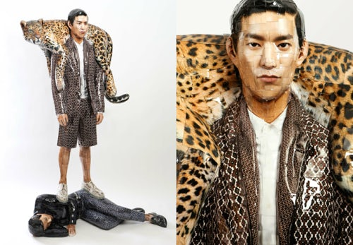 Osang Gwon's sculpture of model Si Hwa Seop, commissioned by Wooyoungmi for its SS13 advertising campaign.