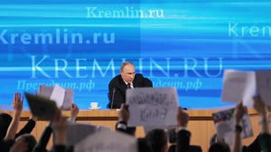 Russian President Vladimir Putin speaks at a press conference   Source: Shutterstock