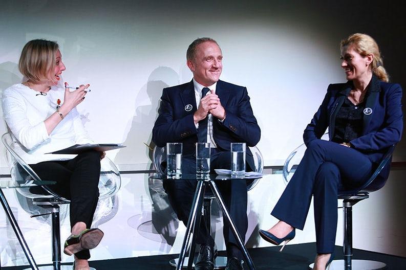 Francine Lacqua, François-Henri Pinault and Marie-Claire Daveu by Alex Maguire | Source: LCF