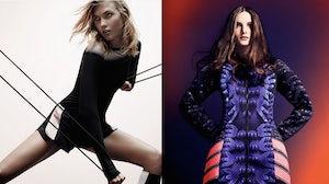 (L) Karlie Kloss modelling Pedro Lourenço for Nike, (R) Mary Katrantzou x Adidas | Source: Nike, Adidas