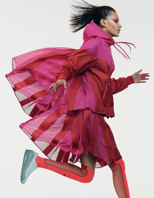 A look from Nike x Sacai collaboration, modelled by Binx Walton.