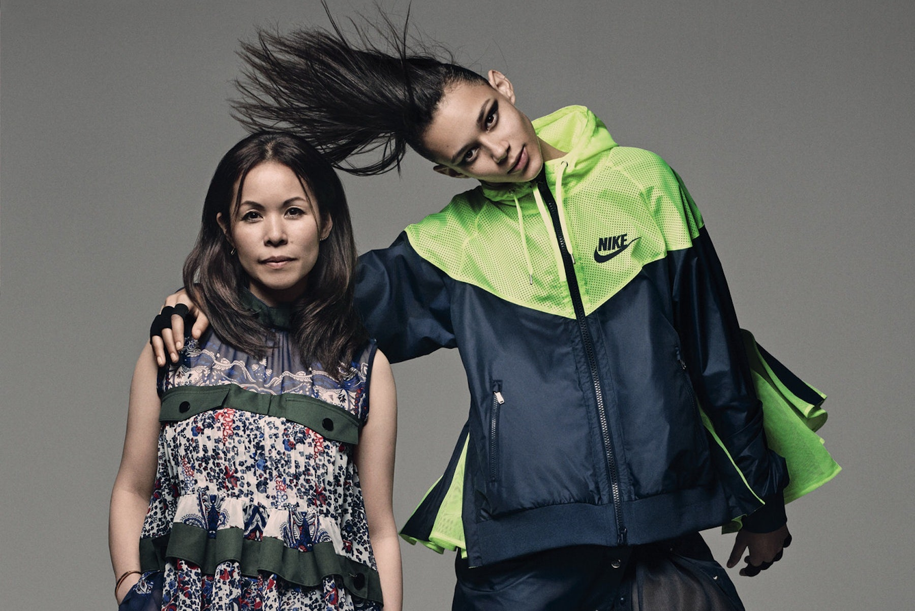 Sacai designer Chitose Abe with model Binx Walton wearing Nike x Sacai | Photo: Craig McDean