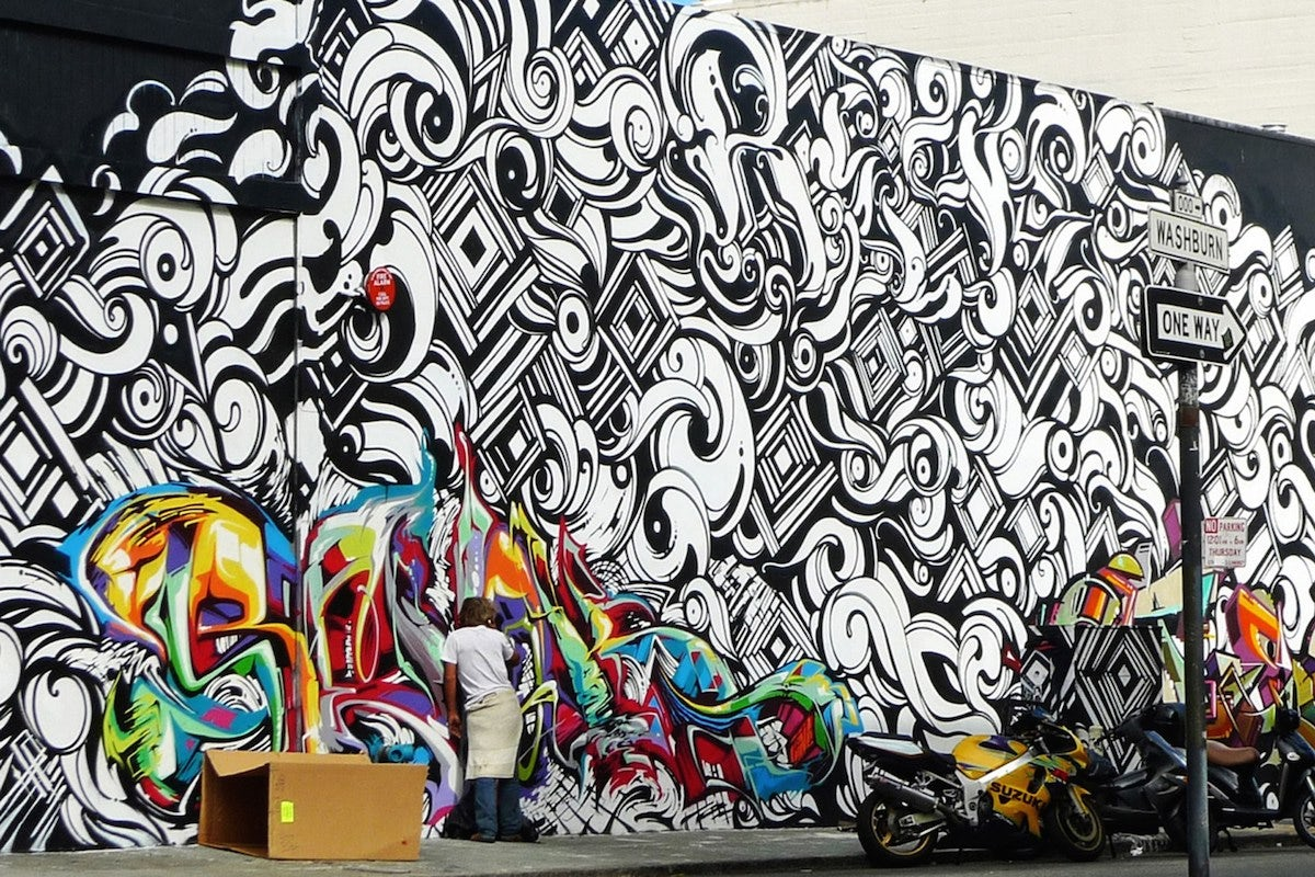 "Jason ""Revok"" Williams, Victor ""Reyes"" Chapa and Jeffrey ""Steel"" Rubin San Francisco Mission District Mural | Source: Revok, Reyes and Steel."
