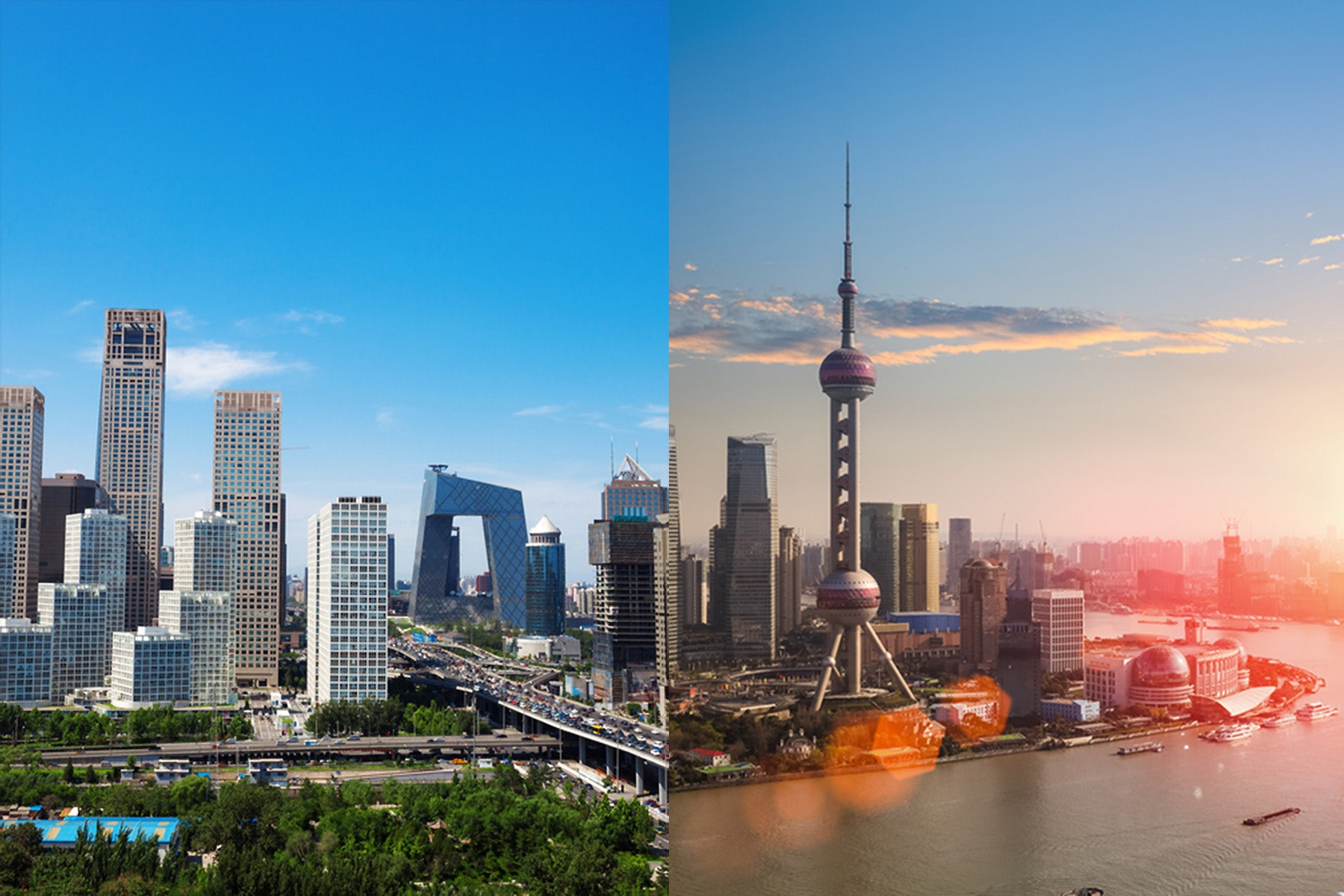 Beijing (L) and Shanghai (R) skylines | Source: Shutterstock