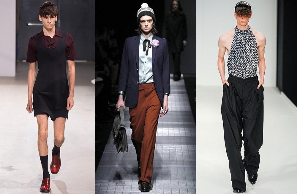 (L-R) Raf Simons Menswear Spring/Summer 2014, Gucci  Menswear Autumn/Winter 2015, J.W Anderson Menswear Spring/Summer 2014  | Source: Indigital