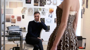 Raf Simons in the Dior Haute Couture Atelier | Source: Dior and I