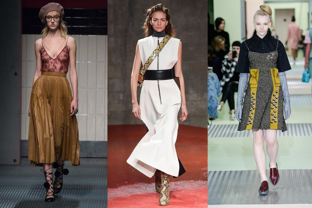 Autumn/Winter 2015 looks from (L-R) Gucci, Marni and Prada   Source: Indigital.