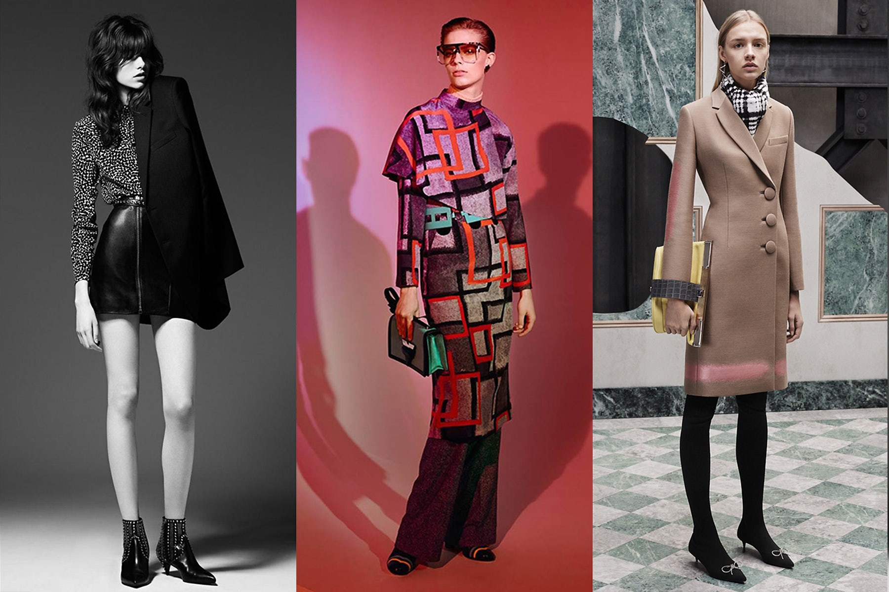 Saint Laurent pre-fall 2015;  Loewe autumn/winter 2015; Balenciaga pre-fall 2015 | Source: Saint Laurent; Loewe; Balenciaga