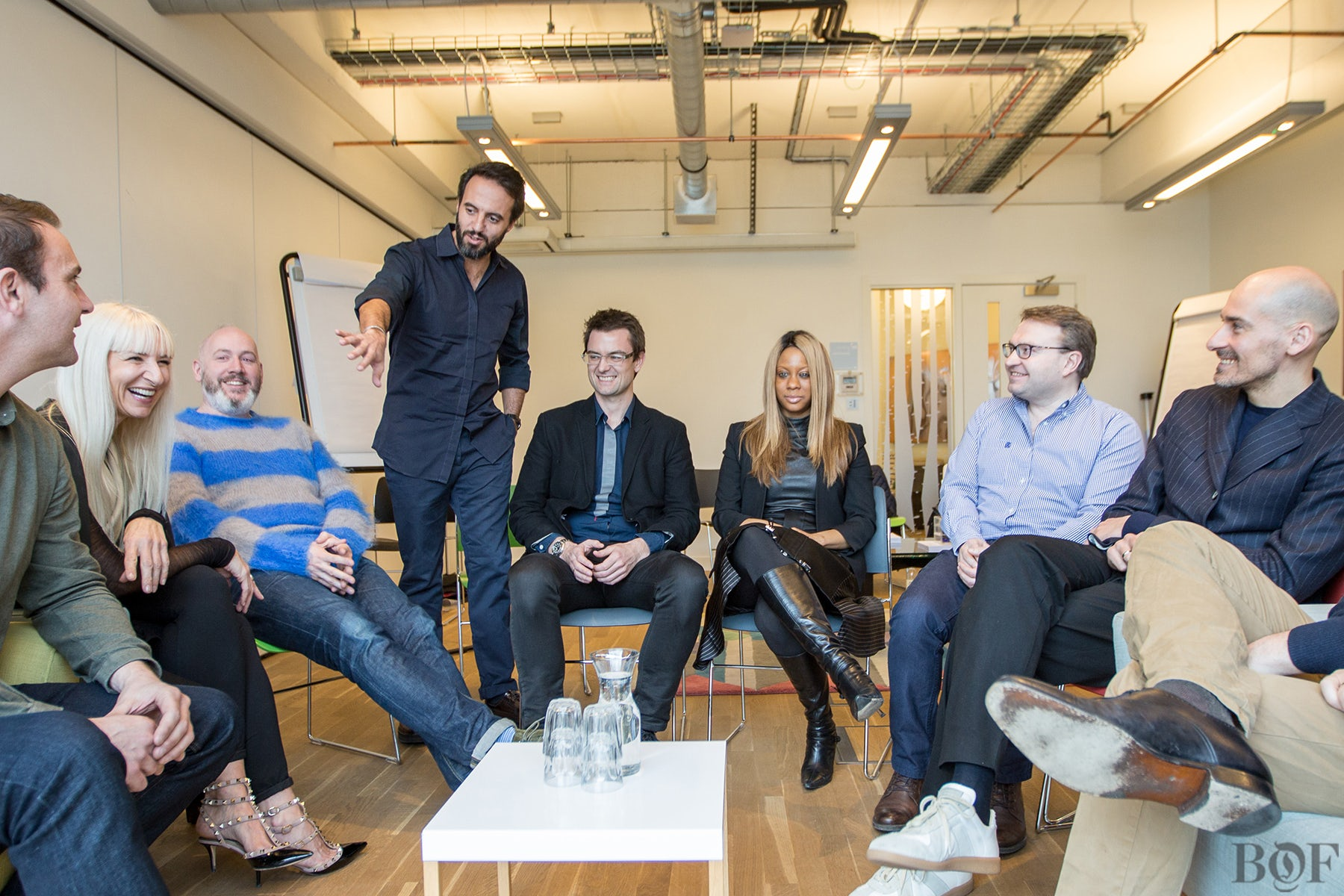 José Neves with Farfetch's senior leadership team on the day of their recent fundraising announcement | Photo: Dan Dennison for BoF