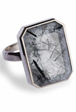Tourmalated quartz 'Dive Bar' ring by Ringly | Source: Ringly