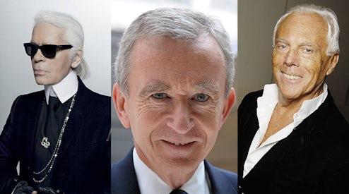 f0c46ba3cd9 Left to right: Karl Lagerfeld, Bernard Arnault, Giorgio Armani   Source:  Courtesy