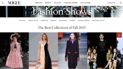 Currently, Voguerunway.com redirects to Vogue.com | Source: Vogue.com