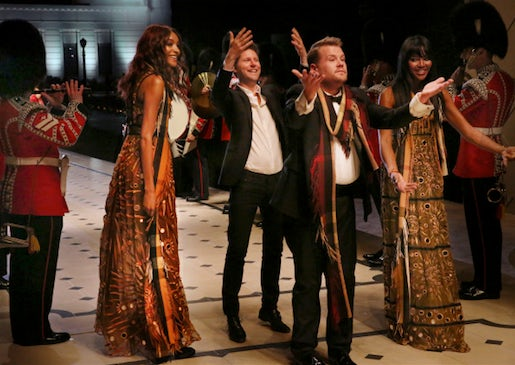Jourdan Dunn, Christopher Bailey, James Corden and Naomi Campbell on the London in LA runway | Source: Burberry