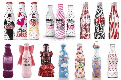 Coca-Cola bottles designed by (L-R) Marc Jacobs, Karl Lagerfeld, Diane Von Furstenberg, Alberta Ferretti, Moschino,  Manaolo Blahnik and Versace | Source: The Coca-Cola Company