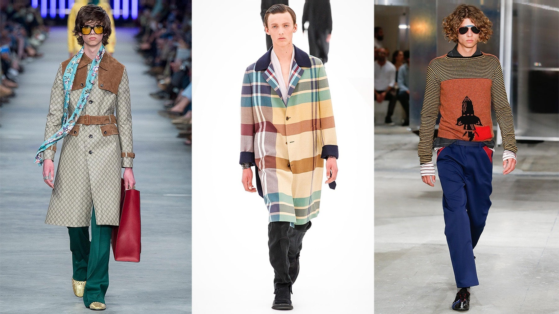From left: Gucci, Ermenegildo Zegna, Prada Spring/Summer 2016   Source: Indigital