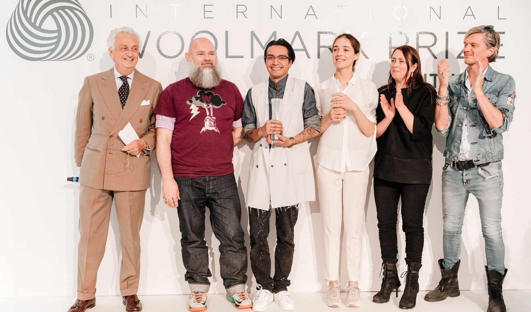 The European winners of the 2015/2016 International Woolmark Prize, with the judges   Source: Courtesy