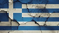 The Greek flag painted on a  wall   Source: Shutterstock