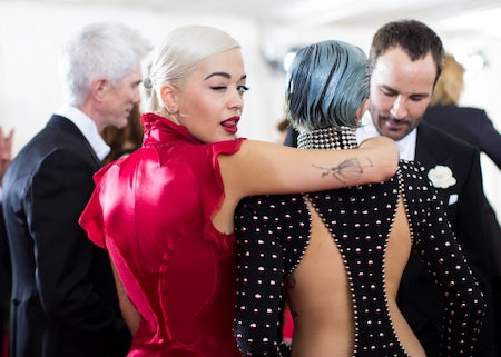 Rita Ora, Miley Cyrus and Tom Ford at the Met Gala | Source: BFA