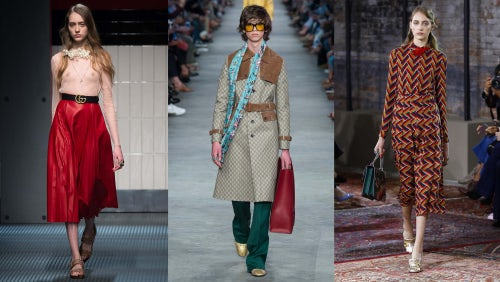 From left: Gucci Women's Autumn/Winter 2015, Gucci Men's Spring/Summer 2016, Gucci Women's Cruise 2016 | Source: Indigital