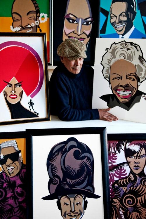 Michael Roberts with his Illustrations   Photo: Milo Osborn