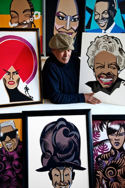 Michael Roberts with his Illustrations | Photo: Milo Osborn