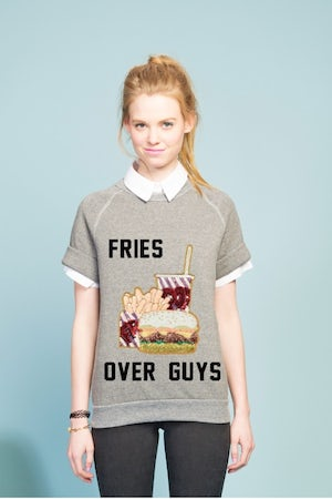 "Bow and Drape's ""Fries Over Guys"" sweater