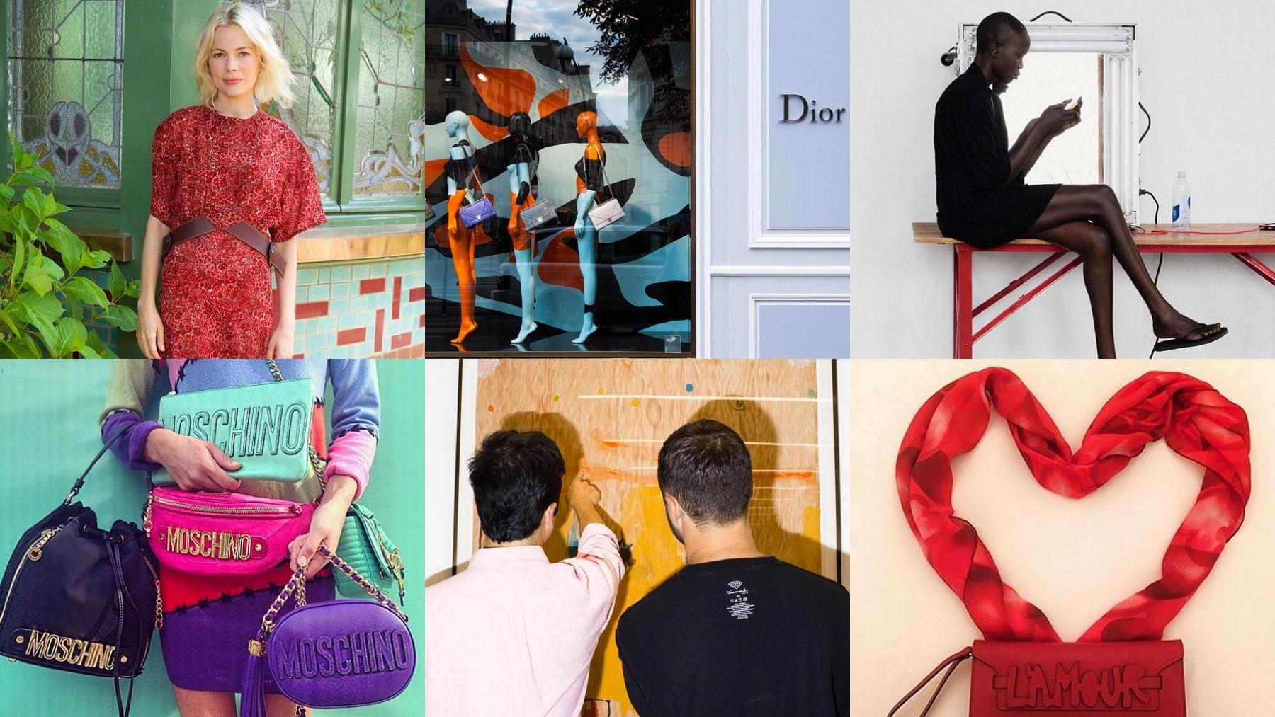 Instagram posts by (clockwise) Louis Vuitton; Dior; Misha Nonoo; Valentino; Proenza Schouler; Moschino | Source: Instagram