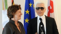 Karl Lagerfeld meet Neelie Kroes, Member of the European Commission in charge of Competition in Brussels | Source: © European Union, 2015