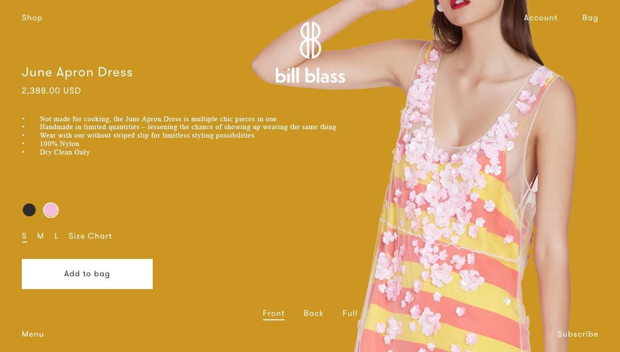 The Bill Blass e-commerce site | Source: Courtesy
