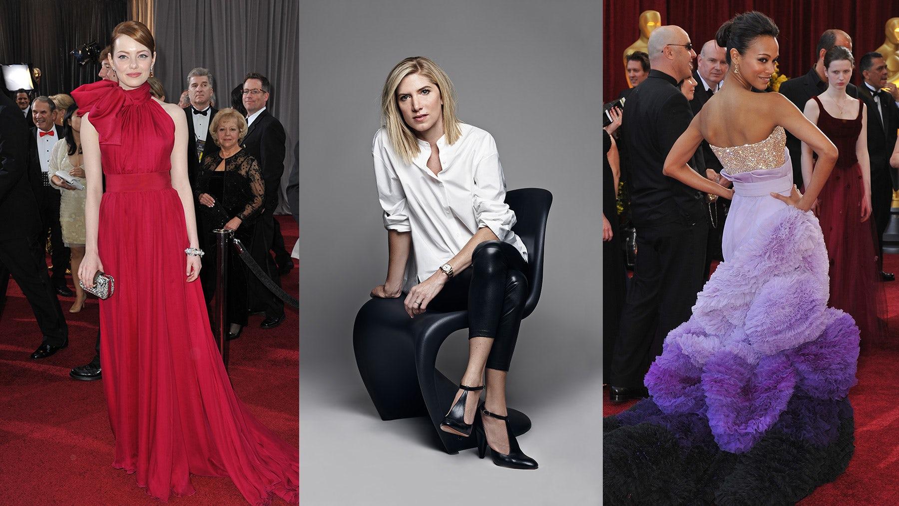 (L) Emma Stone in Giambattista Valli; (R) Zoe Saldana in Givenchy Couture, (C) Petra Flannery | Source: (L&R) Shutterstock, (C) Naj Jamaï