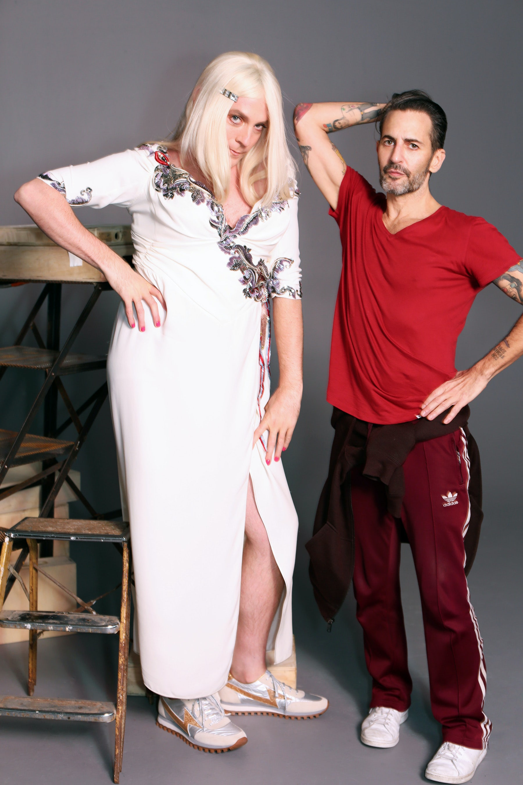 Actor and comedian Drew Droege (left) and Marc Jacobs (right), backstage at the shooting of Marc Jacobs' spring 2016 campaign | Source: Marc Jacobs