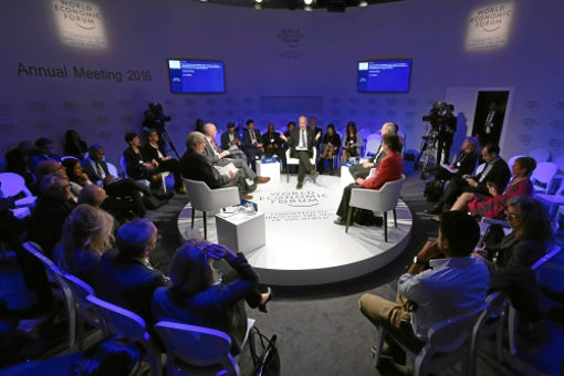 'What If: Robots Go to War' roundtable at the 2016 WEF in Davos | Source: Flickr/Photo Moritz Hager