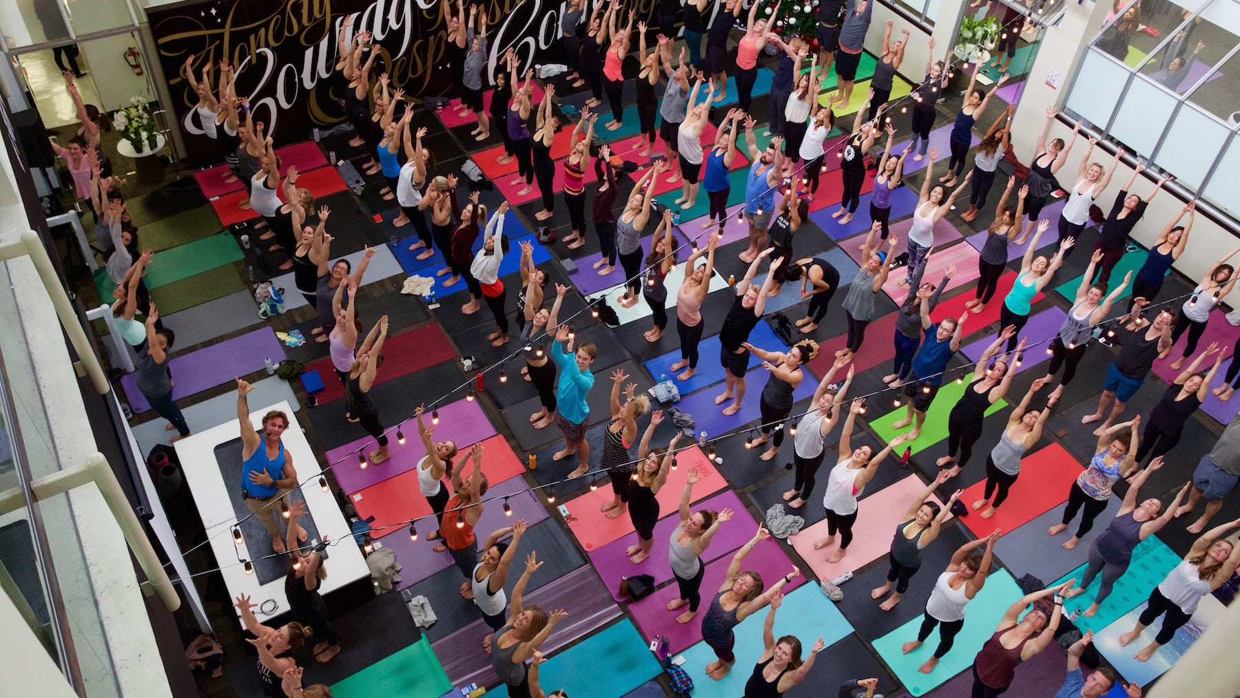 A yoga class at Lululemon's Vancouver headquarters | Source: Courtesy