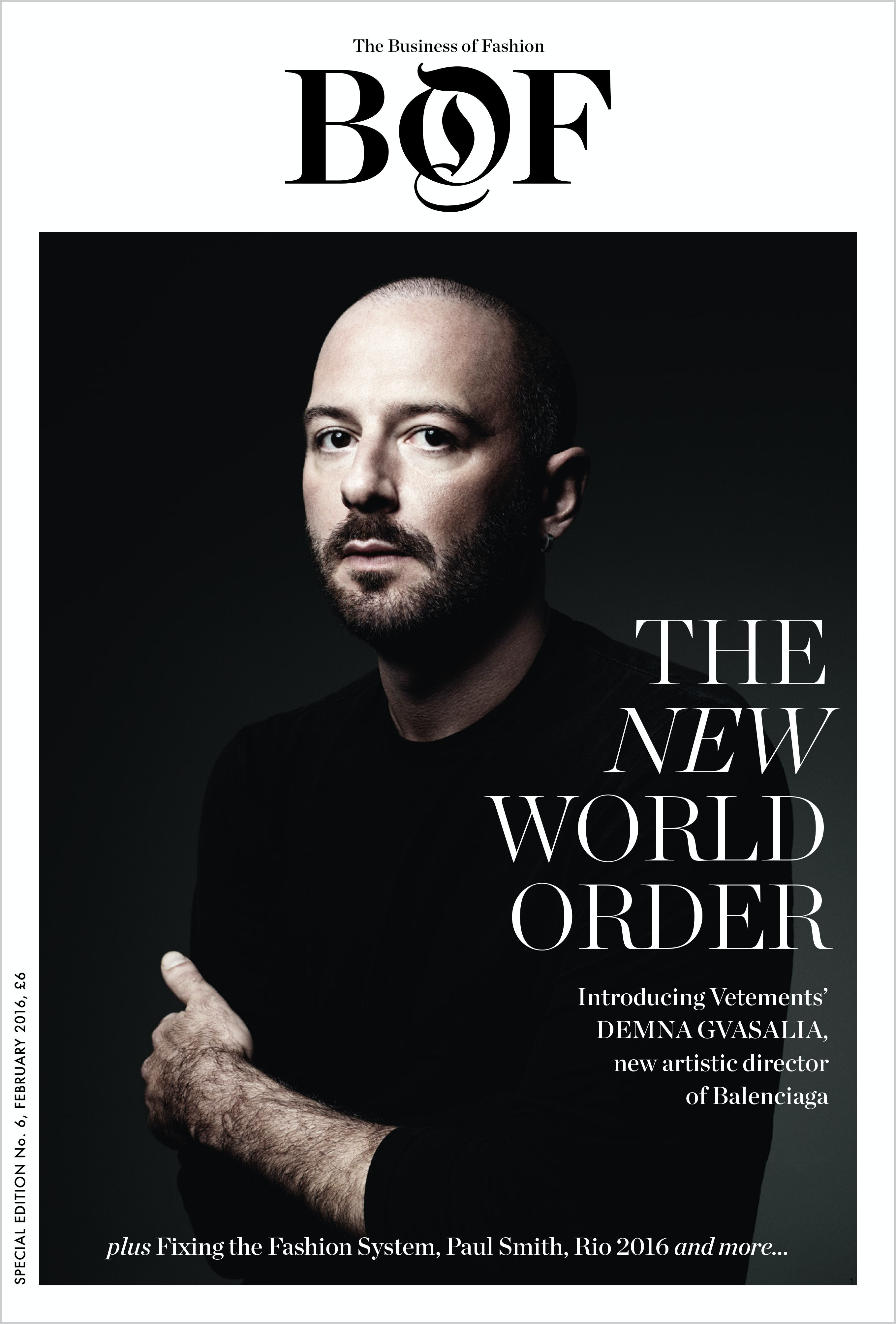 Cover of BoF's 'The New World Order' Special Print Edition, featuring Demna Dvasalia photographed by Willy Vanderperre