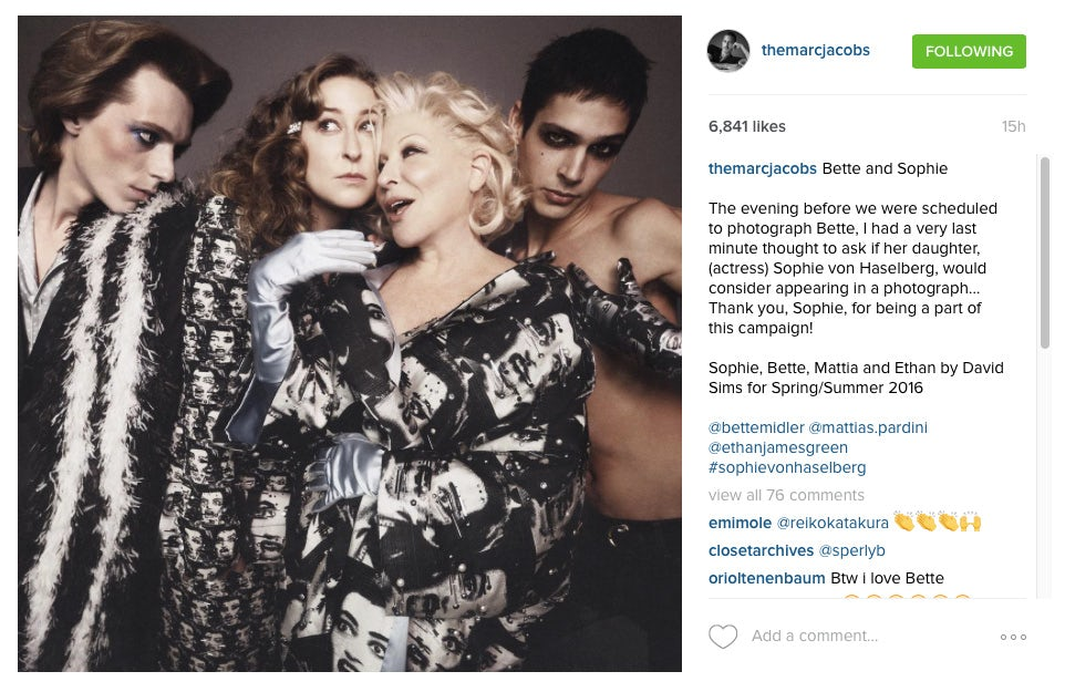 An Instagram post from Marc Jacobs showcasing an image from the new Spring 2016 campaign | Source: Instagram/Marc Jacobs