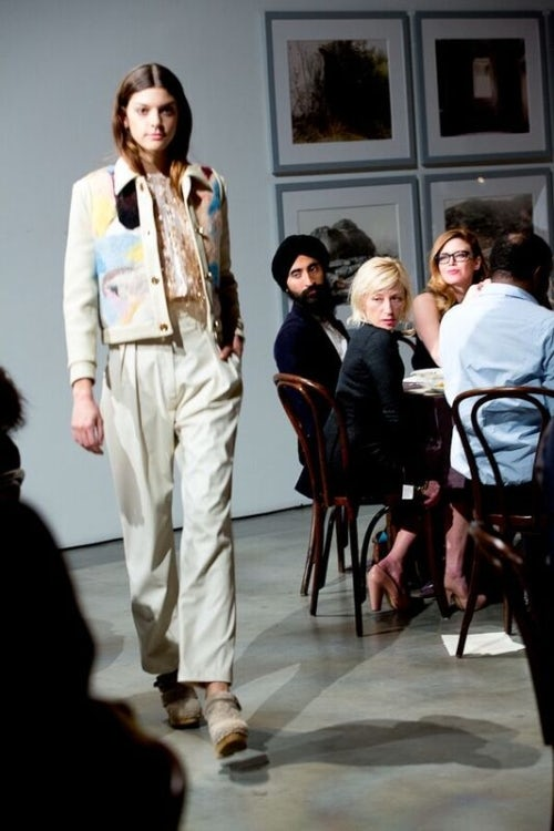 A model at Rachel Comey's A/W 2015 dinner theatre-style presentation | Source: Courtesy
