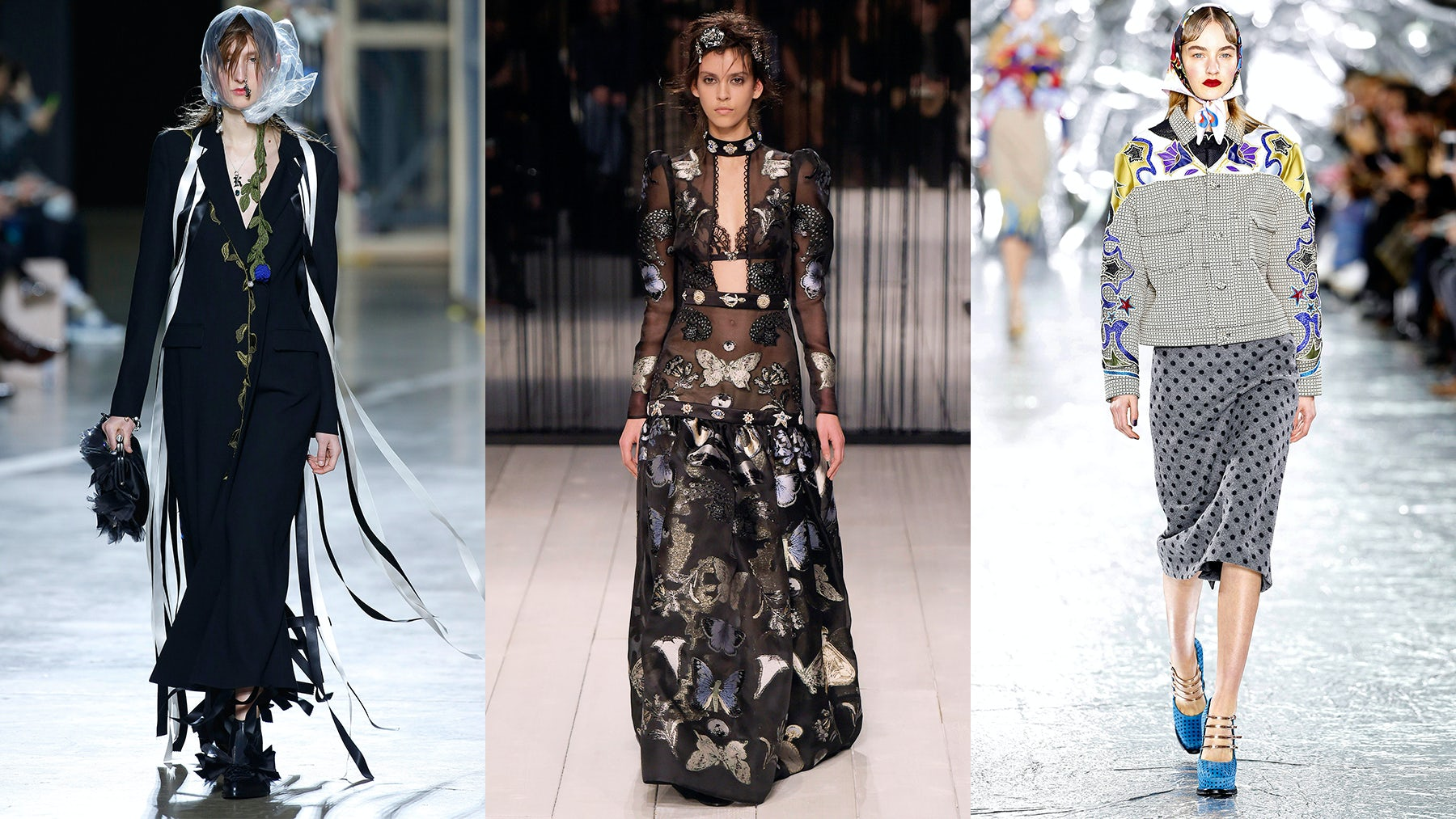 (From L-R) Christopher Kane Autumn/Winter 2016, Alexander McQueen Autumn/Winter 2016, Mary Katrantzou Autumn/Winter 2016 | Source: InDigital.tv