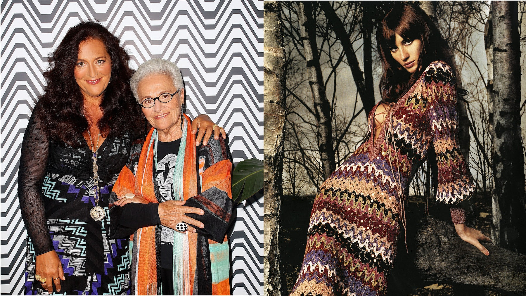 Angela and Rosita Missoni at a 'Missoni for Target' event in 2014, Missoni Autumn/Winter 2002 campaign | Source: Getty/Courtesy