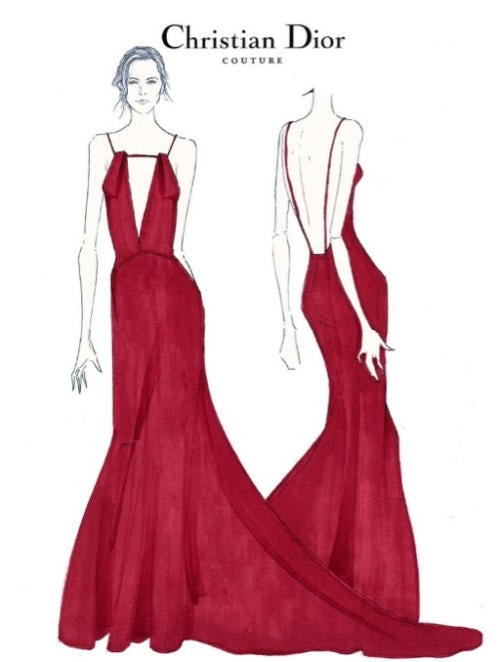 8002a0452 Sketch for Charlize Theron's Dior dress | Source: Courtesy